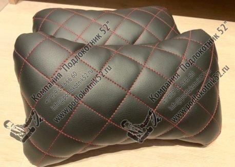 купить подушечки под шею чёрные с красной строчкой (ромб)