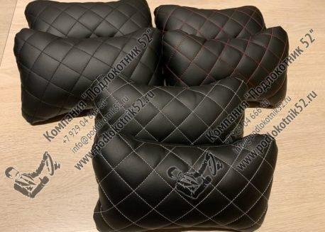 купить подушечки под шею чёрные с серой строчкой (ромб)