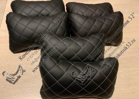 купить подушечки под шею чёрные с чёрной строчкой (ромб)