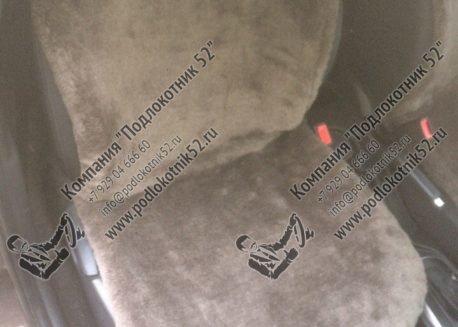 купить меховые накидки вариант №1 широкая спинка с подголовником  (серо-коричневые)