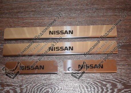 купить хромированные накладки на пороги для nissan almera