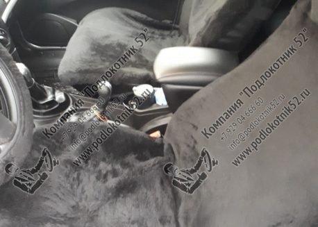 купить меховые накидки вариант №1 широкая спинка с подголовником (чёрные)
